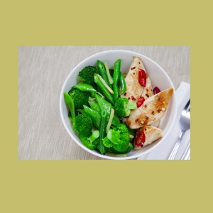 Choose lean protein and vegetables for a lower fat meal.